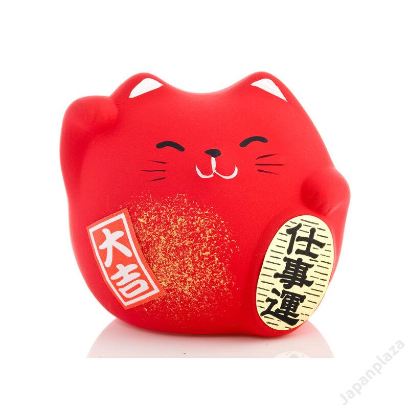 Piros színű feng shui manekineko S