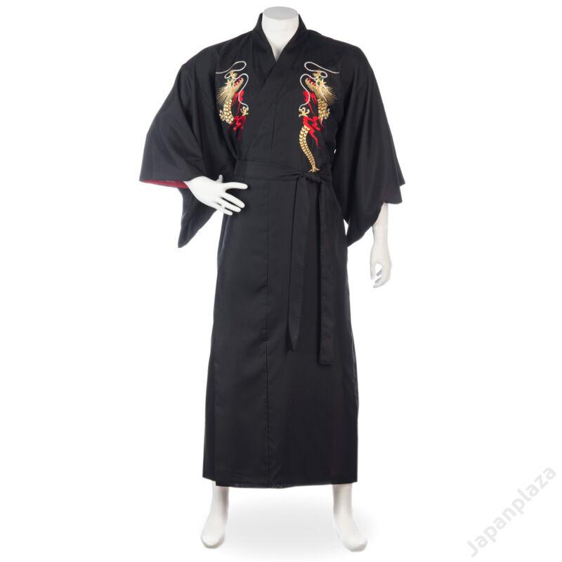 Hosszú kimonó sárkányminta hímzéssel
